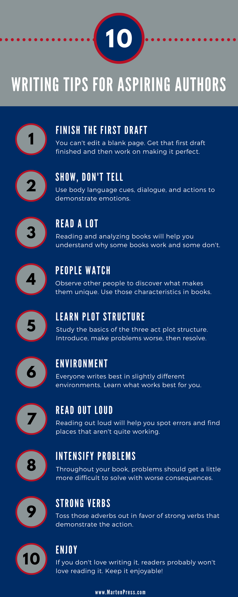 10 Best Writing Tips for Aspiring Authors. Click through to get them all!